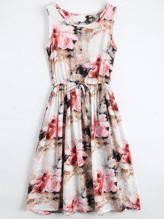 Midi Sleeveless Drawstring Floral Dress - Floral S