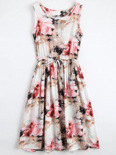 Midi Sleeveless Drawstring Floral Dress - Floral Xl