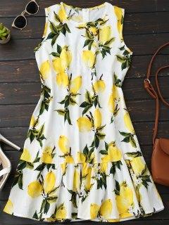 Sleeveless Lemon Ruffle Dress - Yellow M