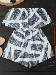 Strapless Geometric Pattern Romper - White Xl