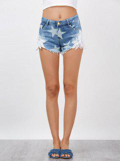 Lace Embellished Star Cut Off Jean Shorts - Denim Blue S