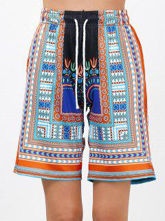 Bohemian Print Drawstring High Waisted Board Shorts - Orange L