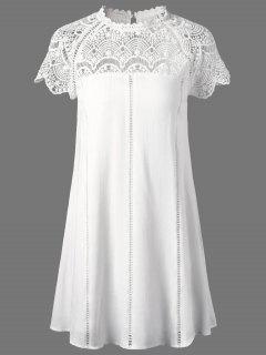 Robe à Panneau En Dentelle  - Blanc 2xl