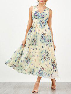 Bohemian Fluido Vestido De Playa Con Estampado De Mariposa - Palomino 2xl