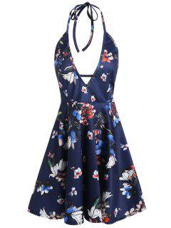 Backless Halter Plunging Neckline Floral Dress - Deep Blue M