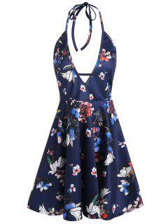 Backless Halter Plunging Neckline Floral Dress - Deep Blue L