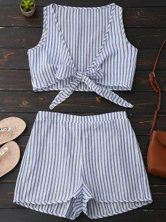 Plunge Striped Front Tied Top With Shorts - Blue Stripe M