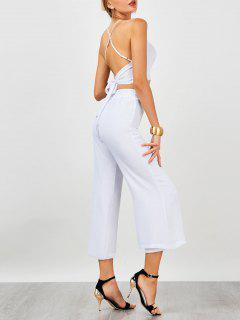 High Waist Criss Cross Backless Chiffon Suit - White S