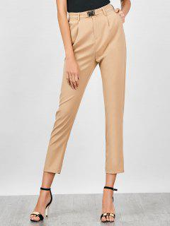 High Waisted Belted Skinny Cigarette Chino Pants - Light Khaki M