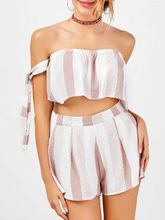 Strapless Stripe Crop Top And High Waisted Shorts - Red With White L