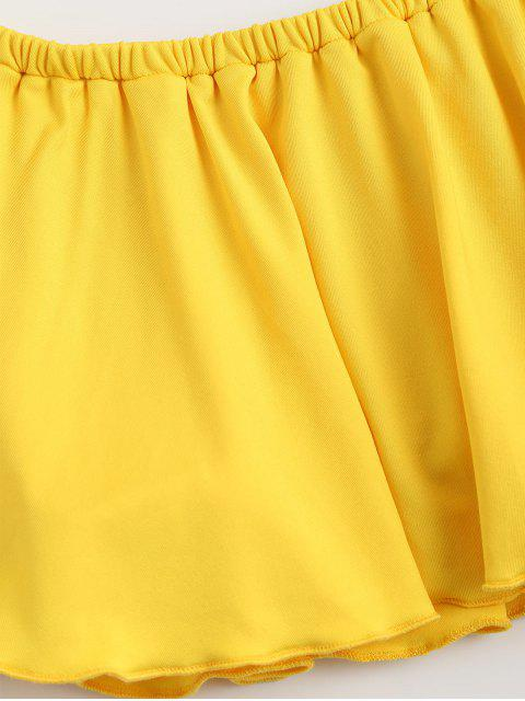 latest Off Shoulder Ruffle Cropped Top - YELLOW S Mobile