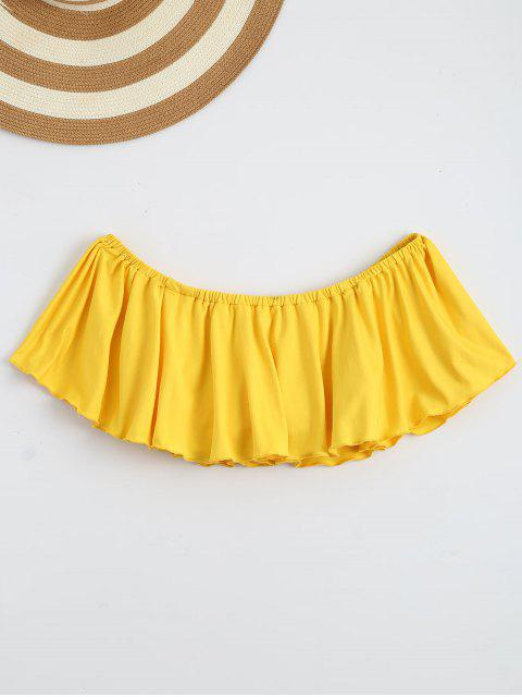 trendy Off Shoulder Ruffle Cropped Top - YELLOW M Mobile