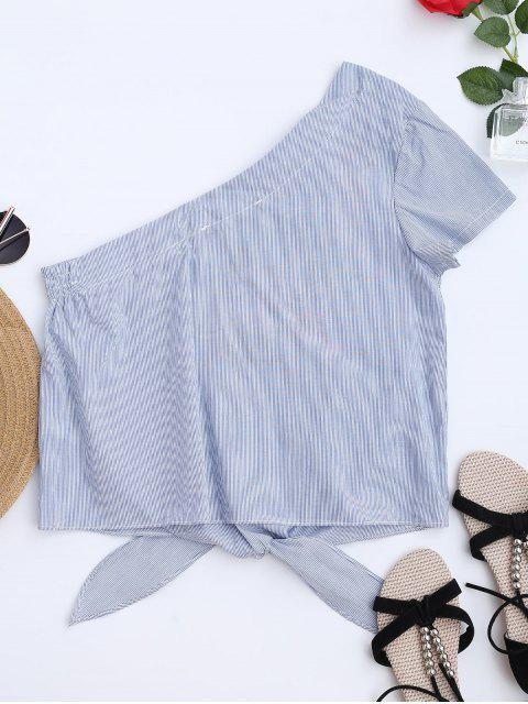trendy Striped Embroidered One Shoulder Top - STRIPE L Mobile