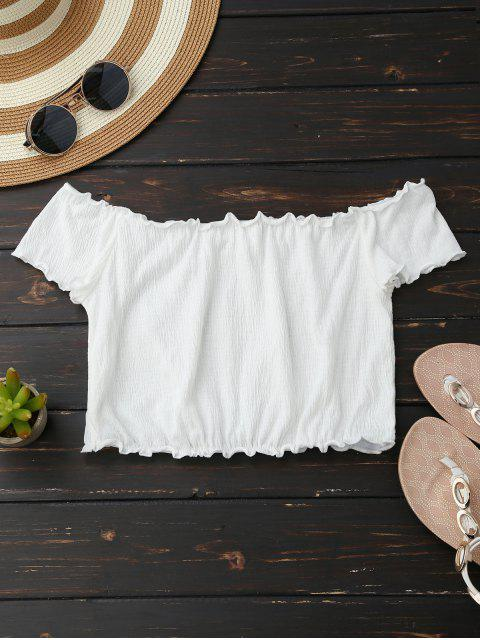 shops Off Shoulder Crushed Cropped Top - WHITE S Mobile