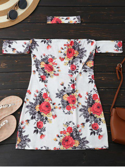 Choker Floral Bodycon Mini Tube Kleid - Weiß L Mobile