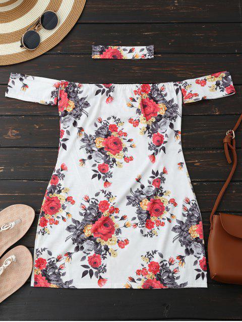 affordable Choker Floral Bodycon Mini Tube Dress - WHITE XL Mobile