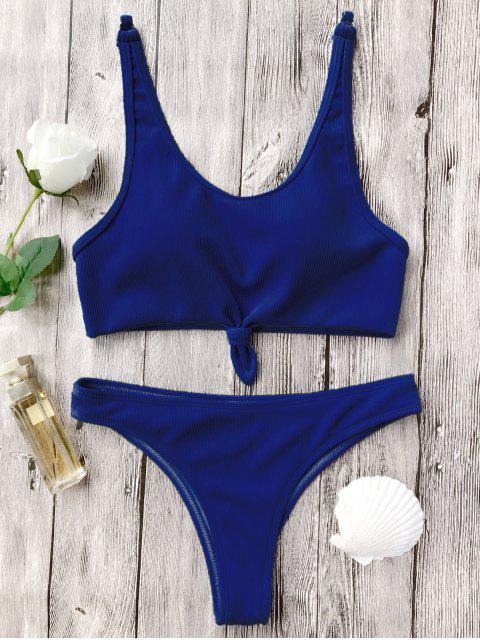 Geknotetes Bralette High Cut Bikini Set - Blau S Mobile