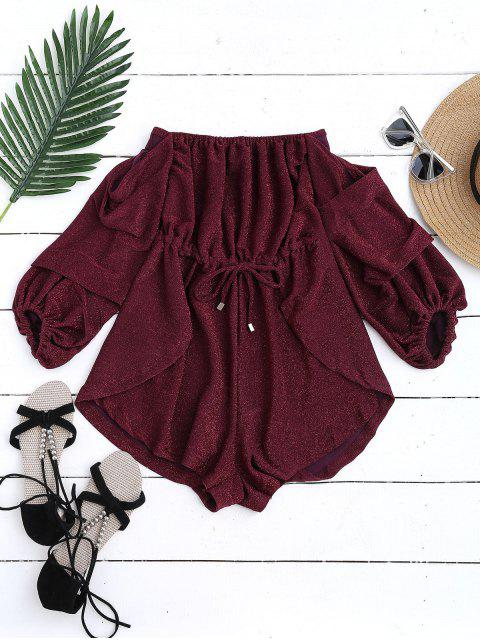 buy Glittered Off The Shoulder Romper - WINE RED M Mobile