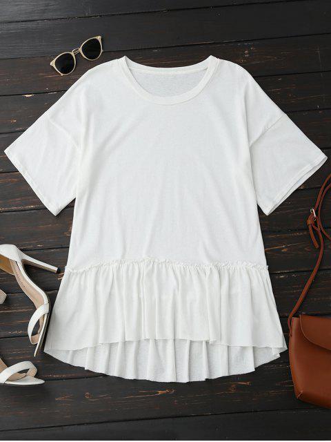 Kurzes Ärmel Rüschen Saum T-Shirt - Weiß Eine Größe Mobile