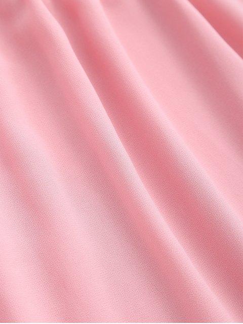 unique Chiffon Cold Shoulder Mini Dress - PINK S Mobile