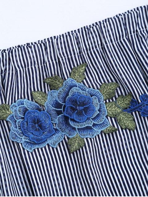 shop Stripes Floral Off The Shoulder A-Line Dress - STRIPE L Mobile
