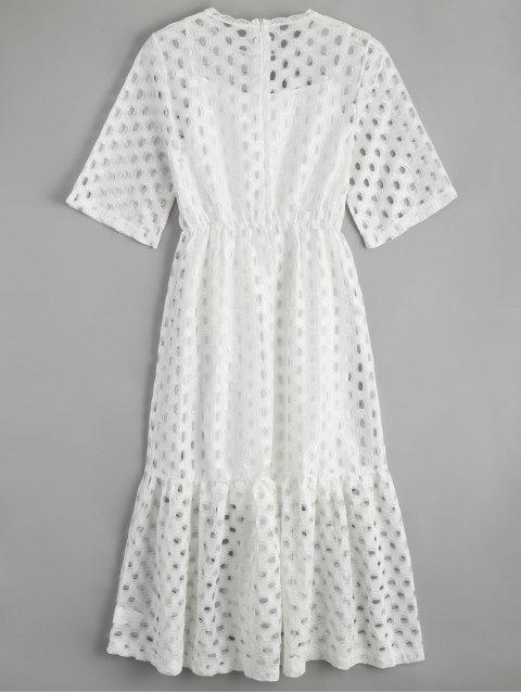 fashion Hollow Out Ruffle Dress with Tank Top - WHITE M Mobile
