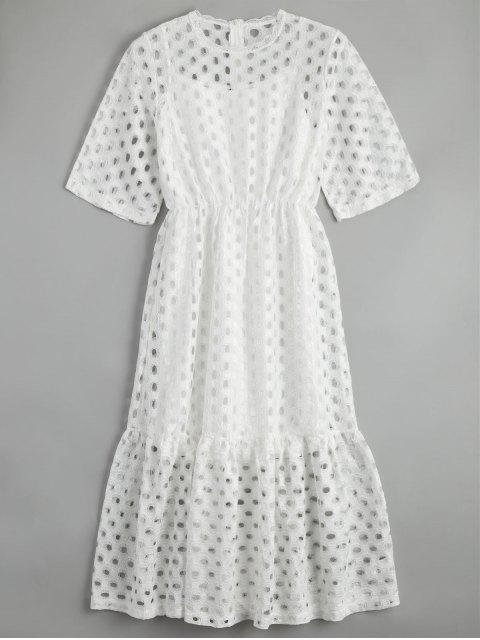 Vestido Ahuecado Fruncido con Camiseta sin Manga - Blanco L Mobile