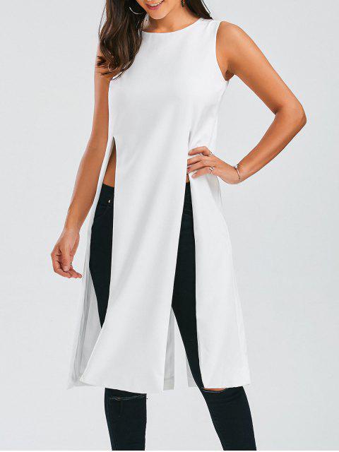 shop Longline Sleeveless High Slit Top - WHITE S Mobile