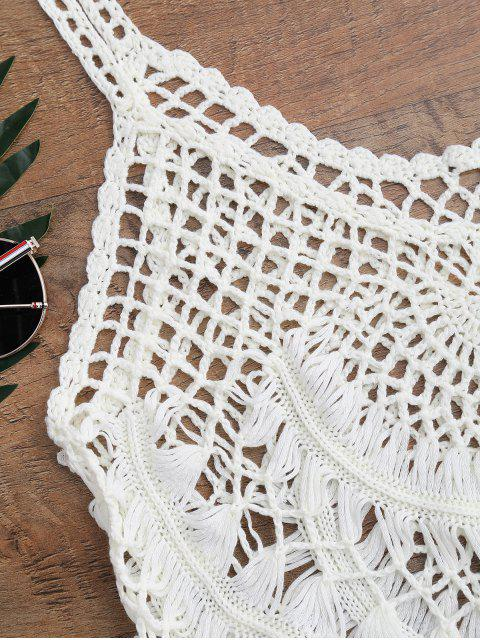 affordable Tasselled Crochet Tank Top Cover Up - OFF-WHITE ONE SIZE Mobile