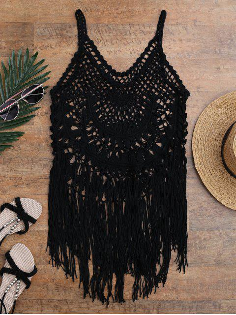 buy Tasselled Crochet Tank Top Cover Up - BLACK ONE SIZE Mobile