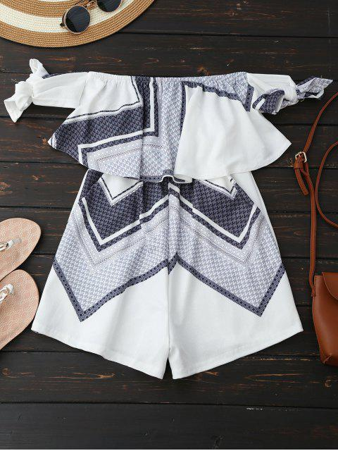 women's Geometric Patterned Tube Romper - WHITE S Mobile