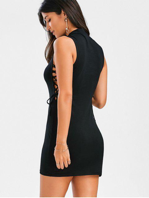 ladies Mock Neck Lace Up Bodycon Dress - BLACK XL Mobile
