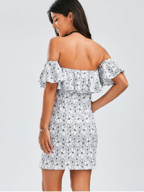 outfits Floral Ruffles Off The Shoulder Mini Dress - FLORAL M Mobile
