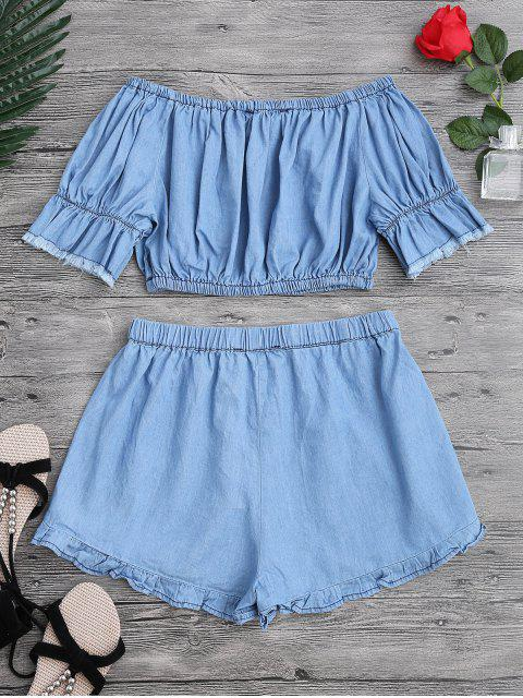 lady Off The Shoulder Cropped Top and Ruffles Shorts - BLUE L Mobile
