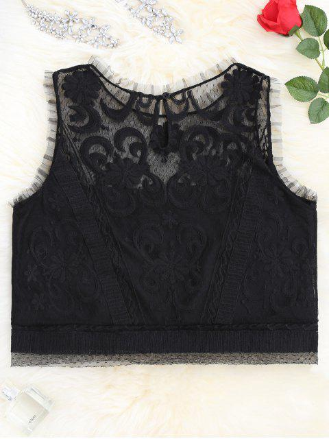 best Lace Keyhole See-Through Tank Top - BLACK M Mobile