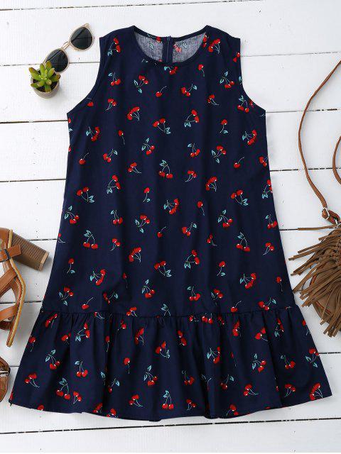 shops Sleeveless Cherry Ruffle Dress - DEEP BLUE XL Mobile