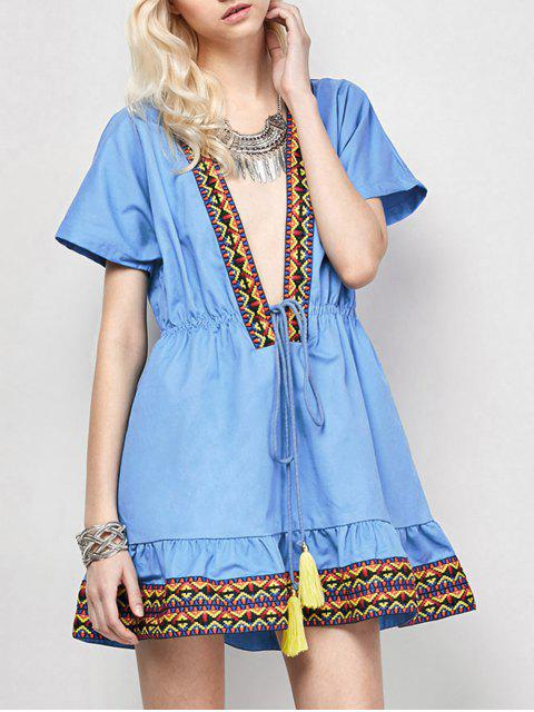 latest Embroidered Plunging Neckline Dress - BLUE L Mobile
