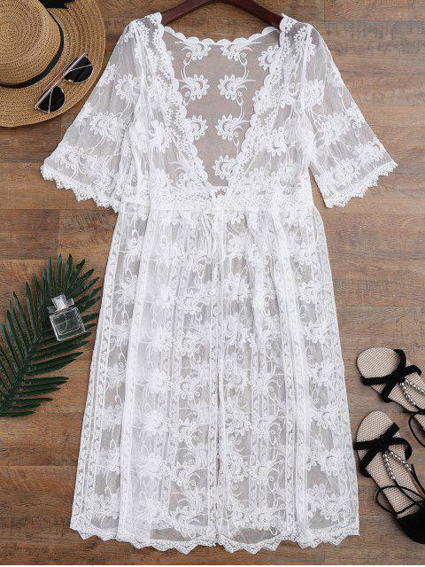Bordado Sheer Lace Beach Cover Up - Blanco Única Talla Mobile