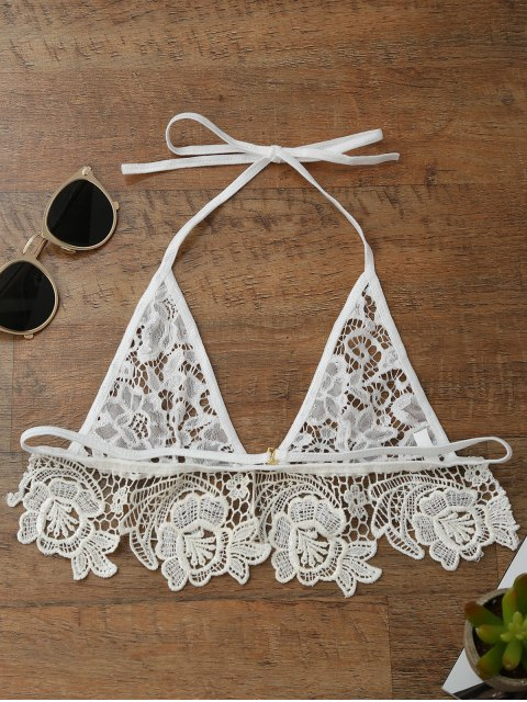 online Longline Sheer Lace Bra Top - WHITE L Mobile