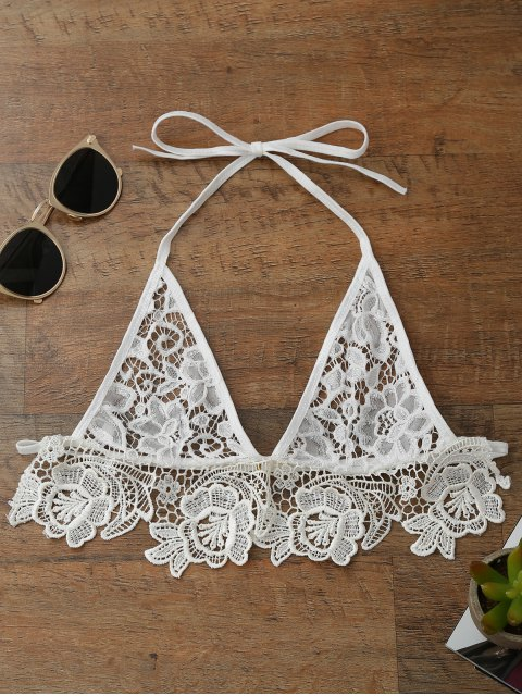 hot Longline Sheer Lace Bra Top - WHITE S Mobile
