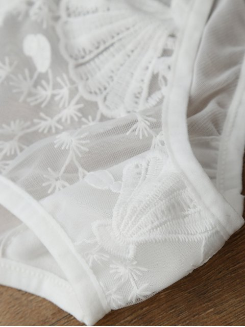 shop Sheer Tulle Bra and Panty Lingerie Set - WHITE M Mobile