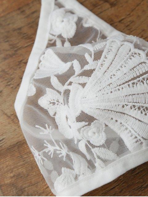 Ensemble de lingerie en soie Tulle et Panty fin - Blanc S Mobile