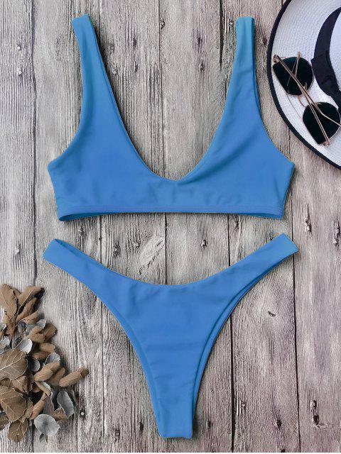 affordable High Cut Scoop Bikini Set - BLUE L Mobile