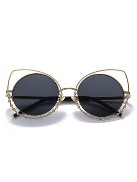 buy Rhinestone Round Hollow Out Cat Eye Sunglasses - BLACK AND GREY  Mobile