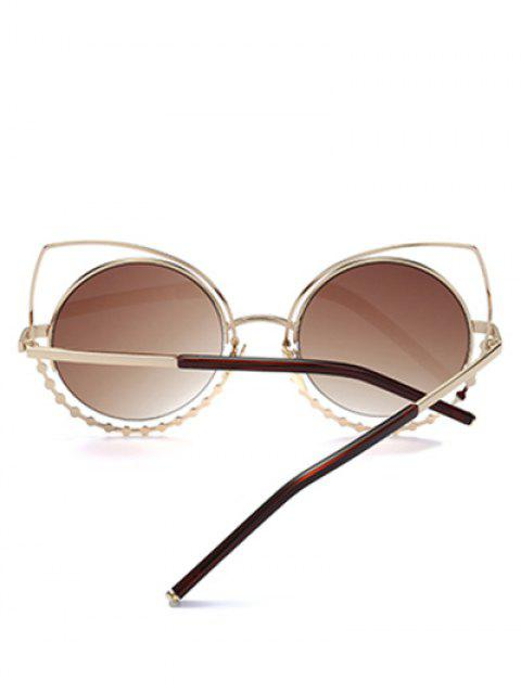 womens Rhinestone Round Hollow Out Cat Eye Sunglasses - TEA-COLORED  Mobile