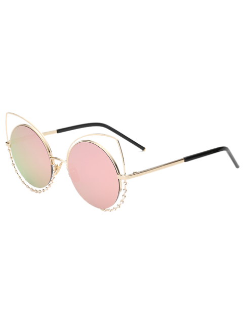 women Rhinestone Round Hollow Out Cat Eye Sunglasses - PINK  Mobile