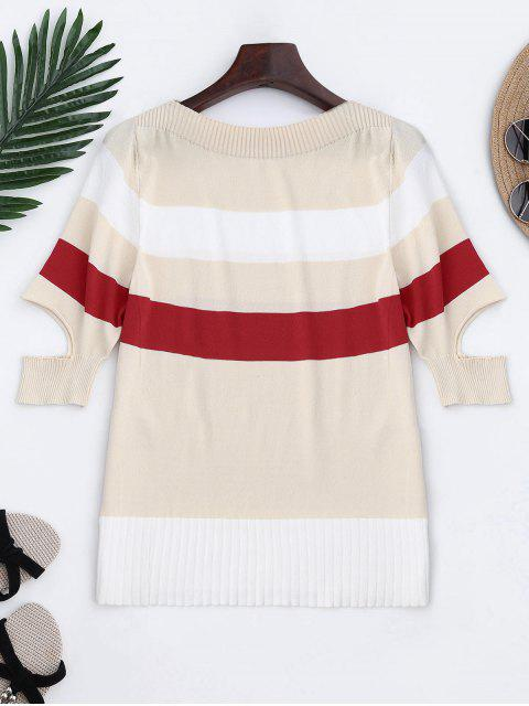 Tricot Color Block Split Sleeve Top - Blanc TAILLE MOYENNE Mobile