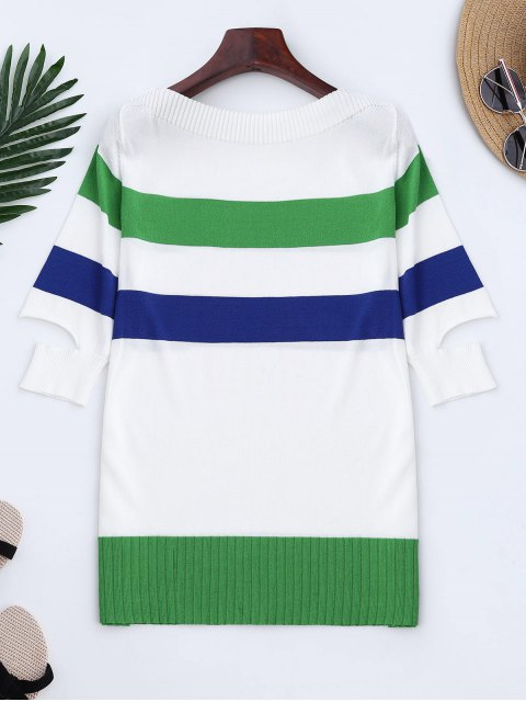 Tricot Color Block Split Sleeve Top - Vert TAILLE MOYENNE Mobile