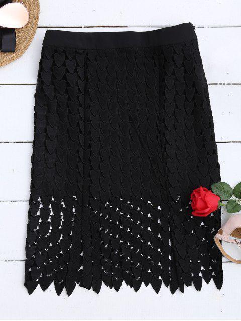 Falda recortada de encaje - Negro M Mobile