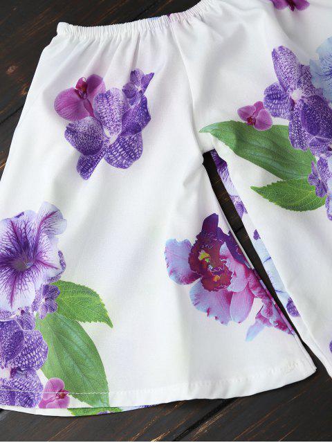 Top épaules dénudés et Shorts floral - Blanc M Mobile